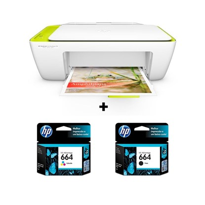 Imagem de Multifuncional Hp Deskjet Ink Advantage 2136 + Cartuchos 664 Preto e Colorido (F6V29AB, F6V28AB)