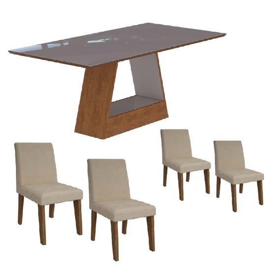 imagem de Conjunto Sala de Jantar Mesa Alana Retângular 4 Cadeiras Milena Suede Bege e Off White - Cimol