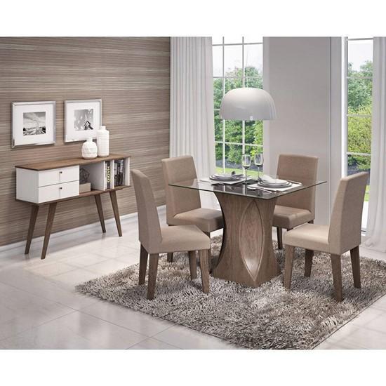 imagem de Conjunto Sala de Jantar Mesa Andréia 4 Cadeiras Milena Cimol - Marrocos/Pluma