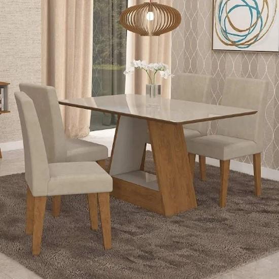 imagem de Conjunto Sala de Jantar Mesa Alana Retangular 4 Cadeiras Milena Suede Bege e Off White - Cimol