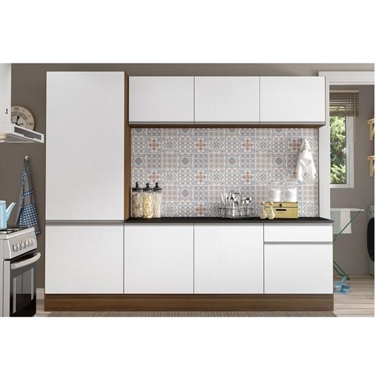 imagem de Kit Cozinha Linea Multimóveis 08 Portas e 01 Gaveta, com Paneleiro - Duna Acetinado/Branco